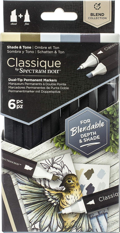 Spectrum Noir Classique Blend Alcohol Marker Dual Nib Pens Set-Shade & Tone-Pack of 6