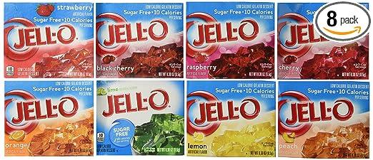 Jell O Sugar Free Gelatin Sampler Bundle Of 8 Different Flavors 3 Oz