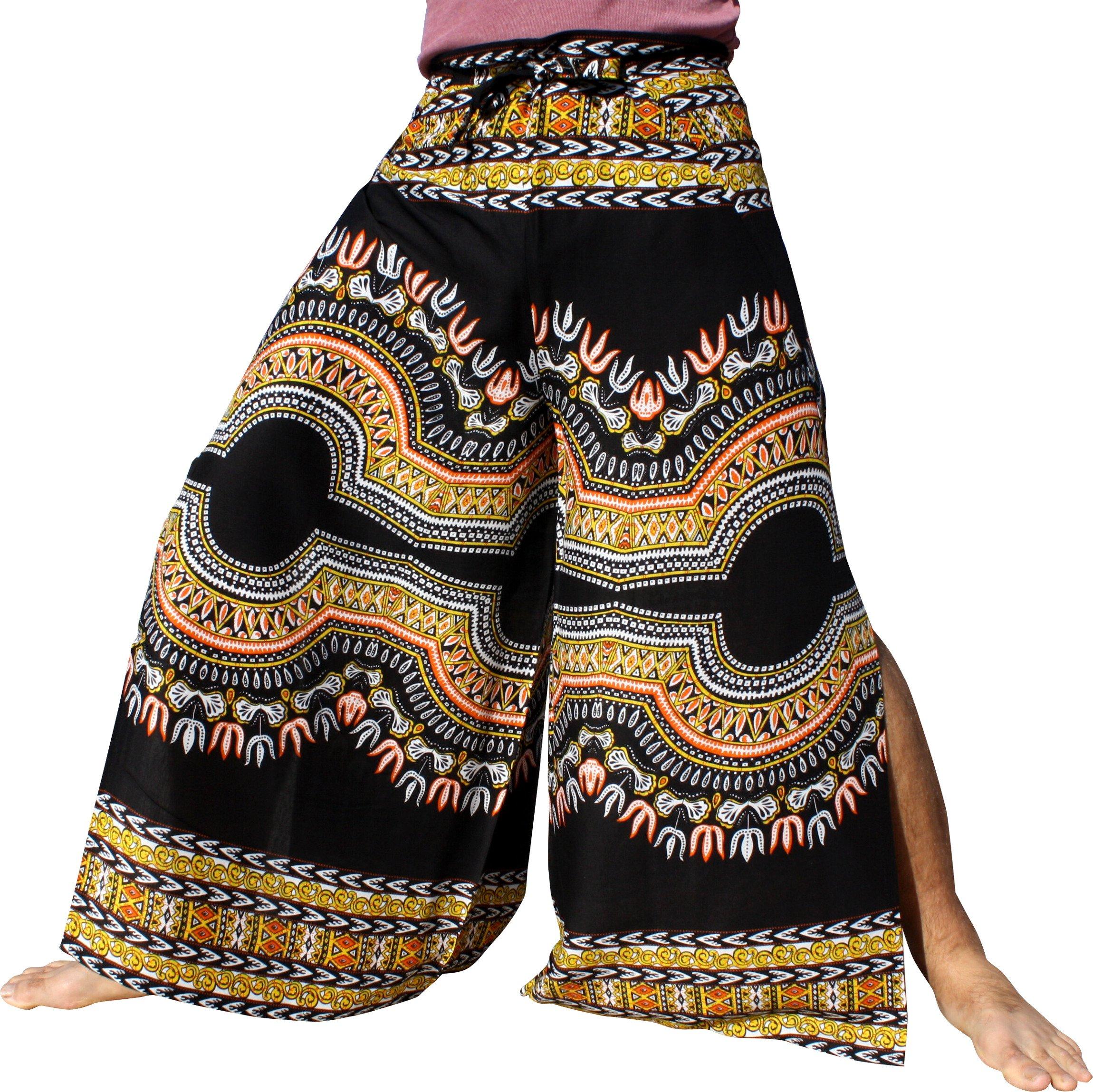Raan Pah Muang Silky Rayon Drive In Wrap Pants Light African Dashiki Art Viscose, Medium, Black