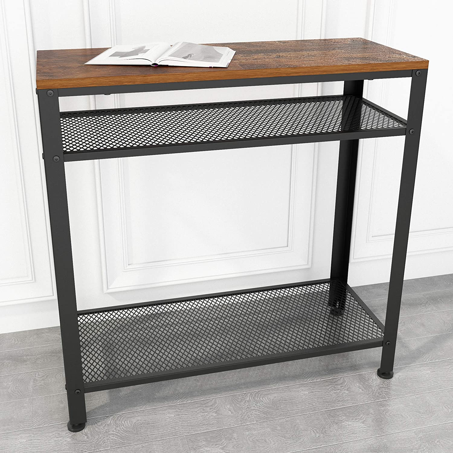 JOISCOPE Console Table, Industrial Sofa Table with Mesh Storage Shelves for Small Spaces, Narrow, Entryway, Foyer, Hallway(Vintage Oak Finish)