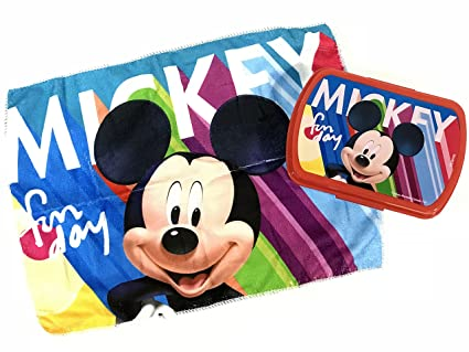 Set sandwichera plastico y toallita de mano de Mickey Mouse (st24)