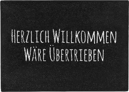 Pechkeks Fußmatte Mit Spruch Herzlich Willkommen Größe 70x50cm Rutschfest Waschbar Schwarz 70x50