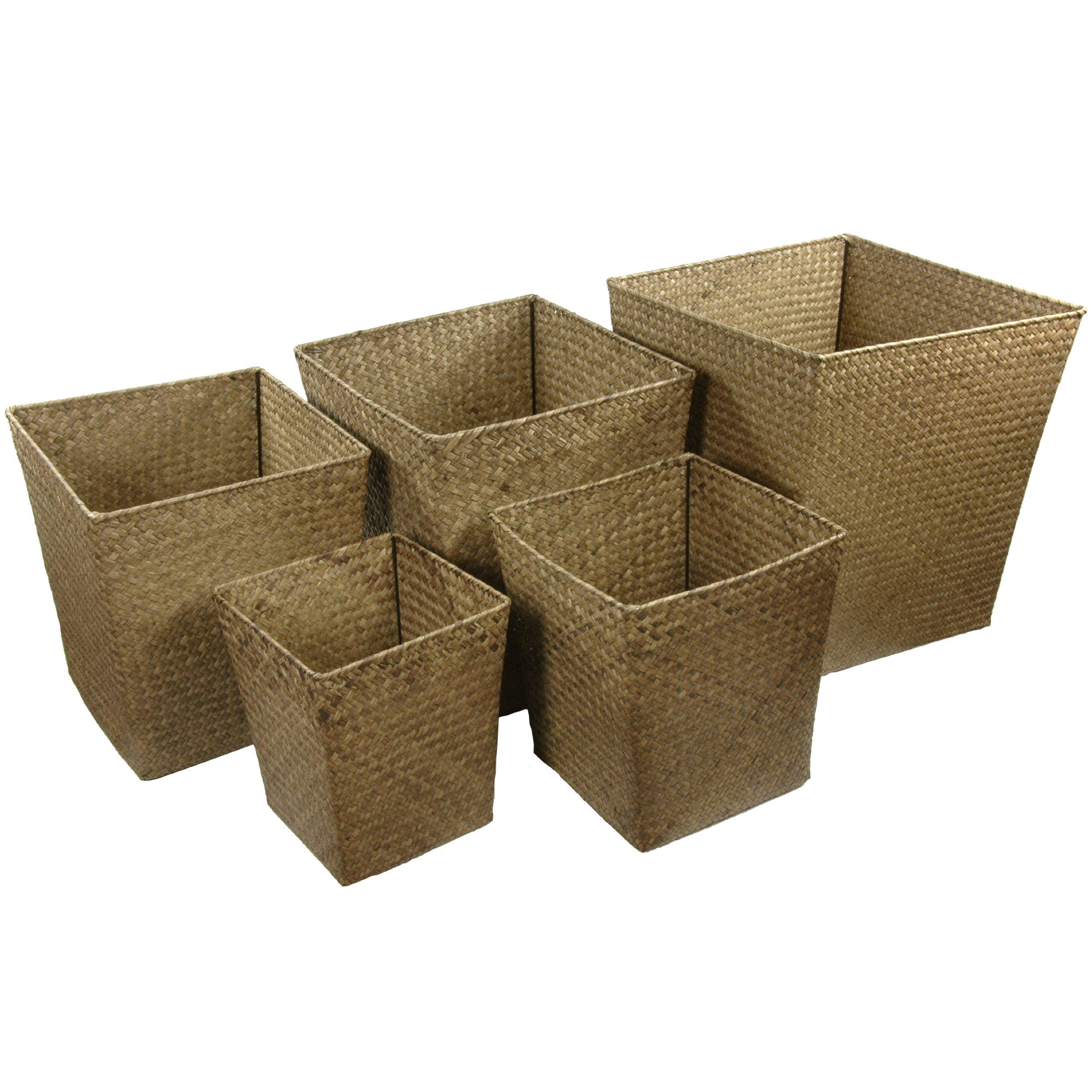 Oriental Furniture Hand Woven Natural Storage Bin ( Set of 5 )