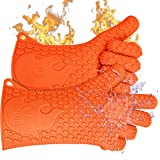 Ekogrips Premium BBQ Oven Gloves | Best Versatile Heat Resistant Grill Gloves | Insulated Silicone Oven Mitts for Grilling | Waterproof | Forearm Protection | Orange, L/XL