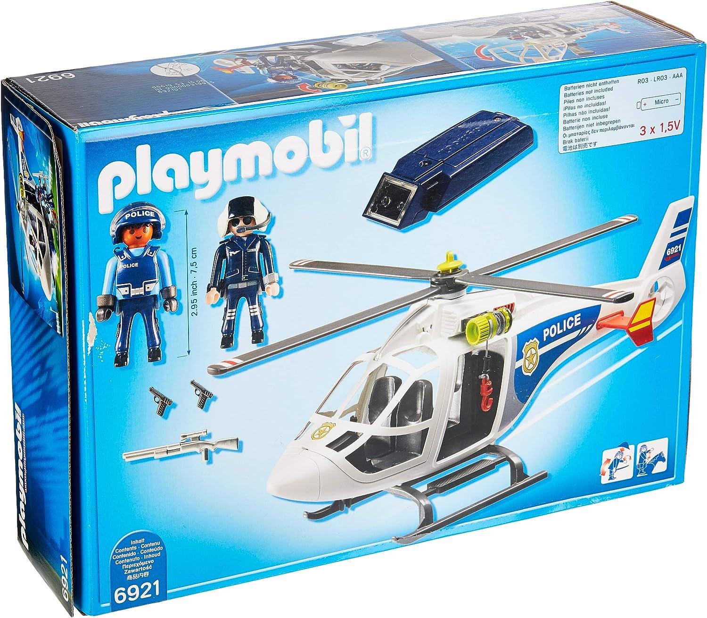 PLAYMOBIL City Action Helicóptero de Policía con Luces LED, a Partir de 4 Años (6921): Amazon.es: Juguetes y juegos