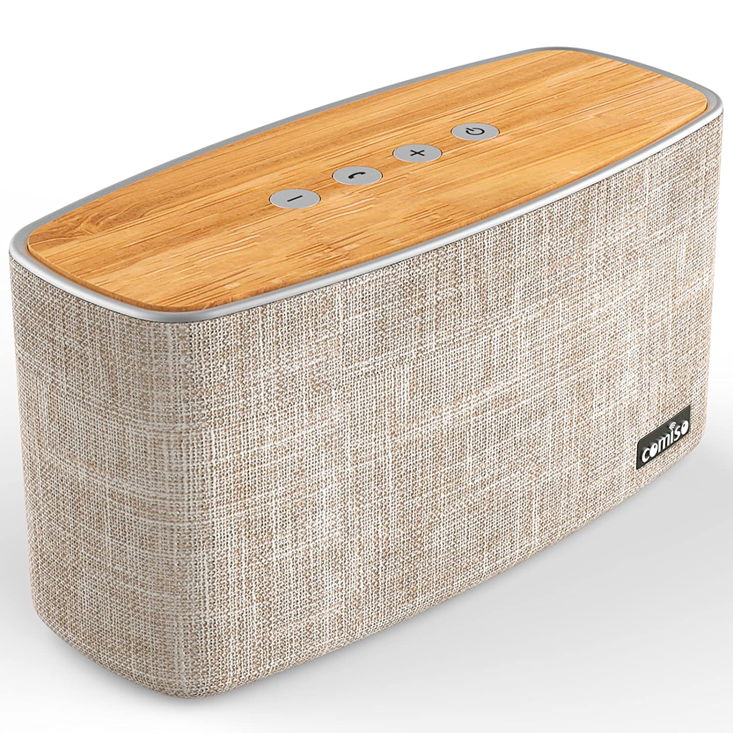 COMISO 30W Bluetooth Speakers with Super Bass, Bamboo Wood Home Speaker with Subwoofer, up to 20 Hours Playtime M20