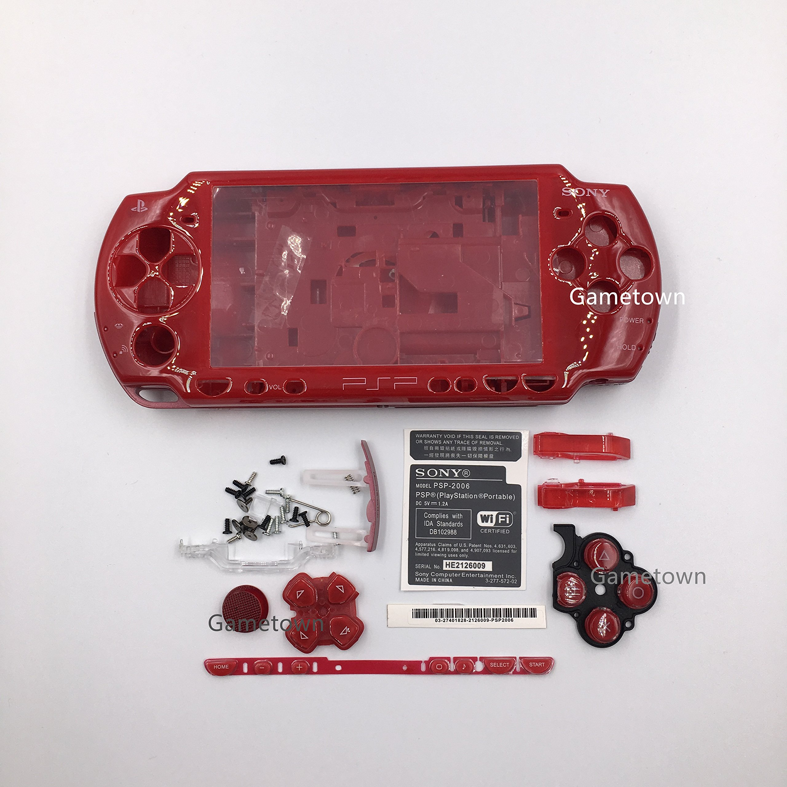 NEW Replacement Sony PSP 2000 Console Full Housing Shell Cover With Button Set -Red.