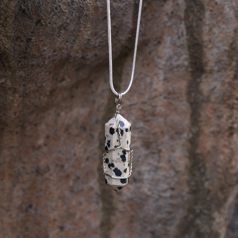 dalmatian jasper crystal necklace