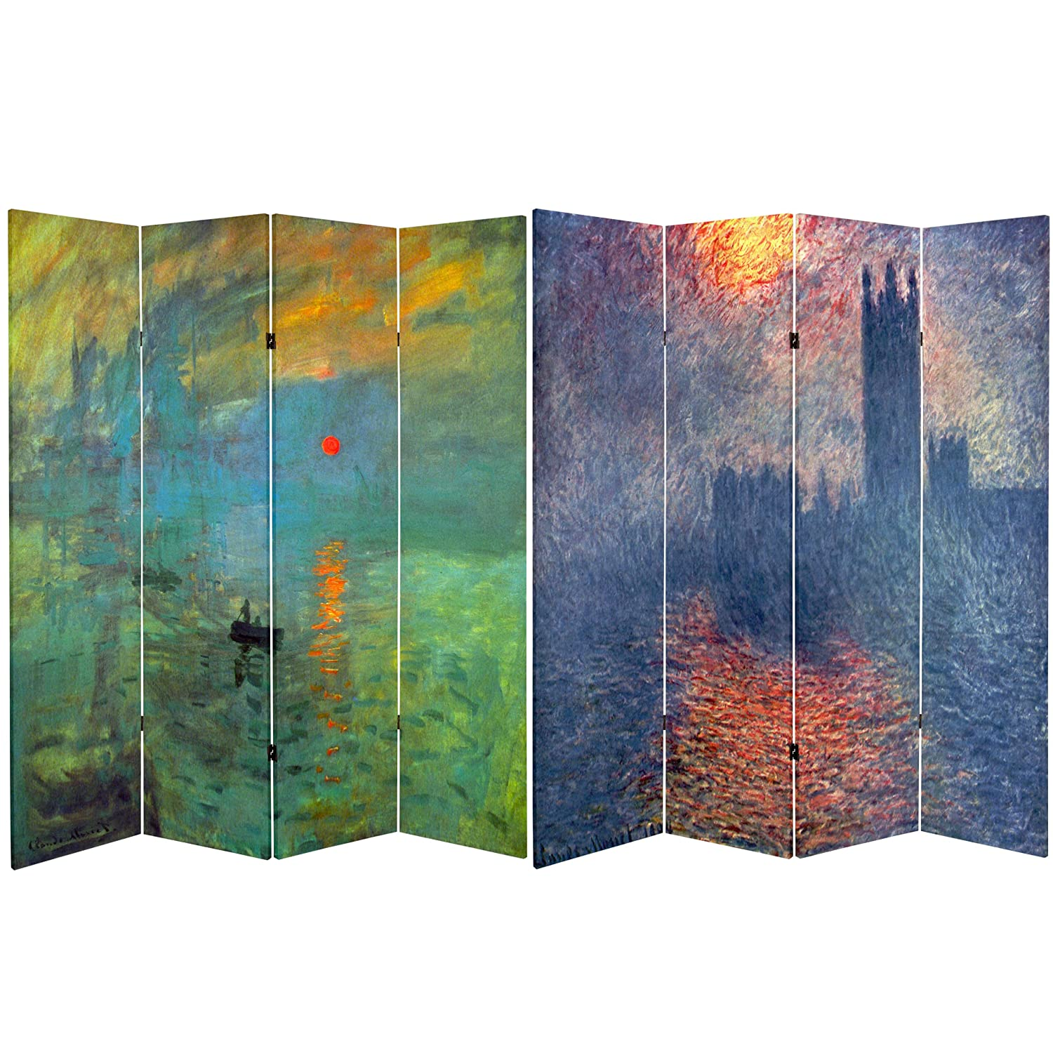 Oriental Furniture Double Sided Works of Monet Canvas Room Divider, 6-Feet Tall, Impression Sunrise/Houses of Parliament CAN-MONET4AB