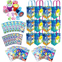 Tiny Mills Shark Family Birthday Party Assortment Favor Set of 108 pcs (12 Large Party Favor Treat Bags with Handles, 24…