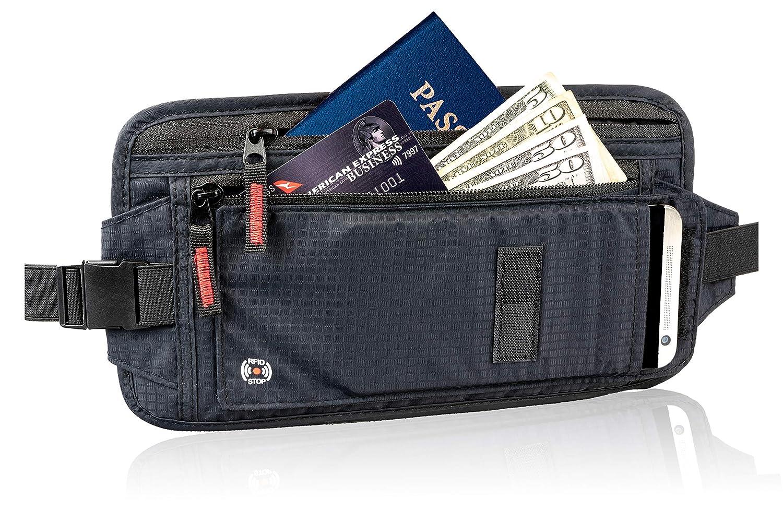 09a6041304c9 RFID Travel Money Belt - Hidden Holder For Passport - Secret, Safe Waist  Wallet