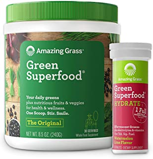 product image for Amazing Grass Superfood Bundle - Original Superfood Greens Powder & Electrolyte Drink Tablets, Watermelon Lime, 30 Servings