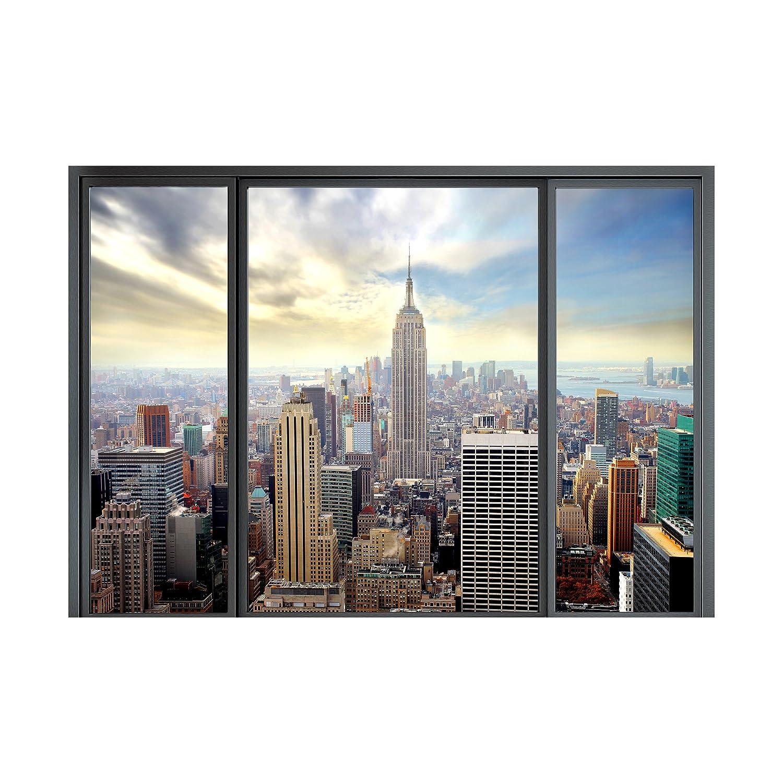 decomonkey Papier peint intiss/é New York Fenetre 300x210 cm Trompe l oeil D/éco Mural Tableaux Muraux Photo Ville Gratte-ciel