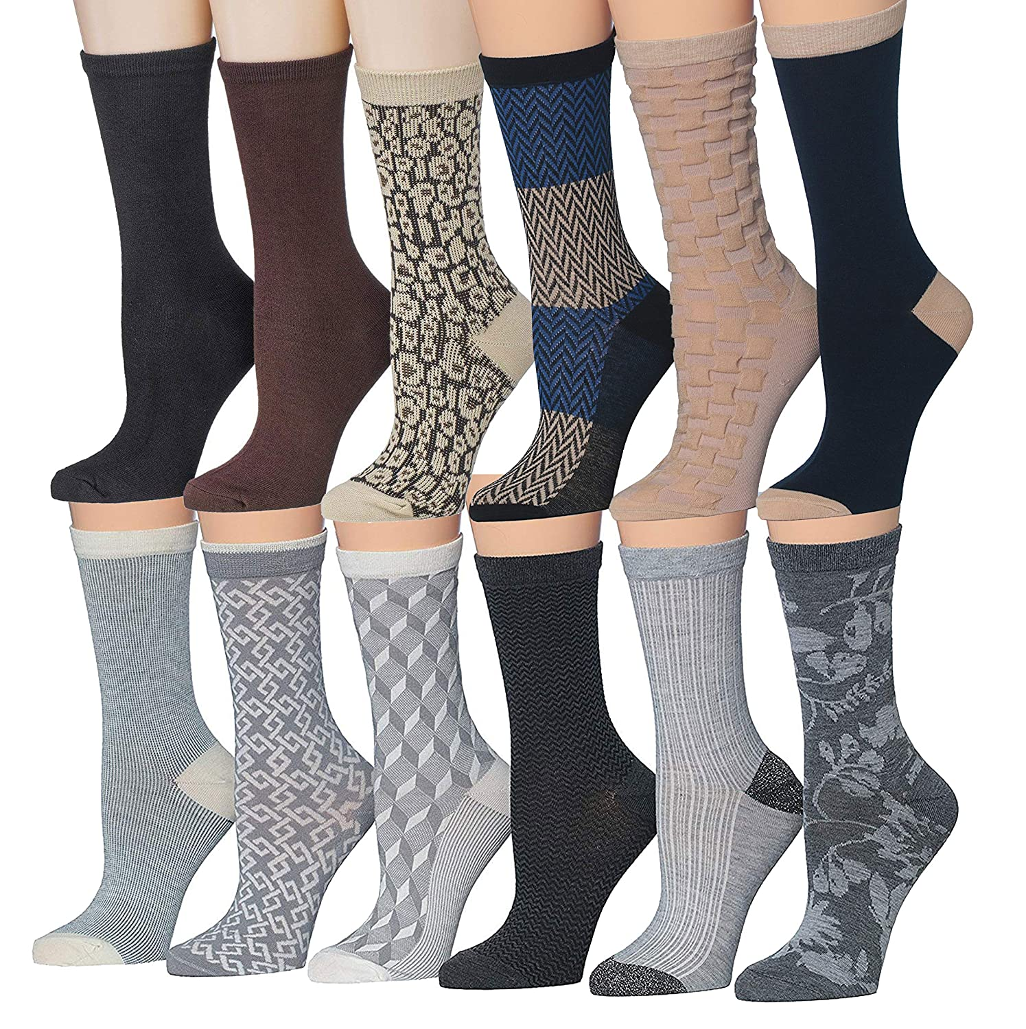 Jvc04252627 Tipi Toe Women's 12 Pairs colorful Patterned Crew Socks