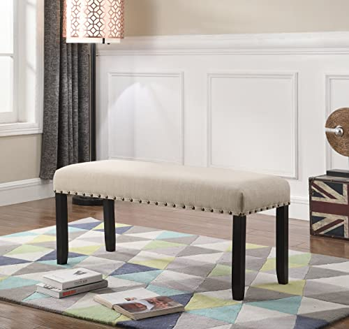 Roundhill Furniture Biony Fabric Dining Bench with Nailhead Trim, Tan