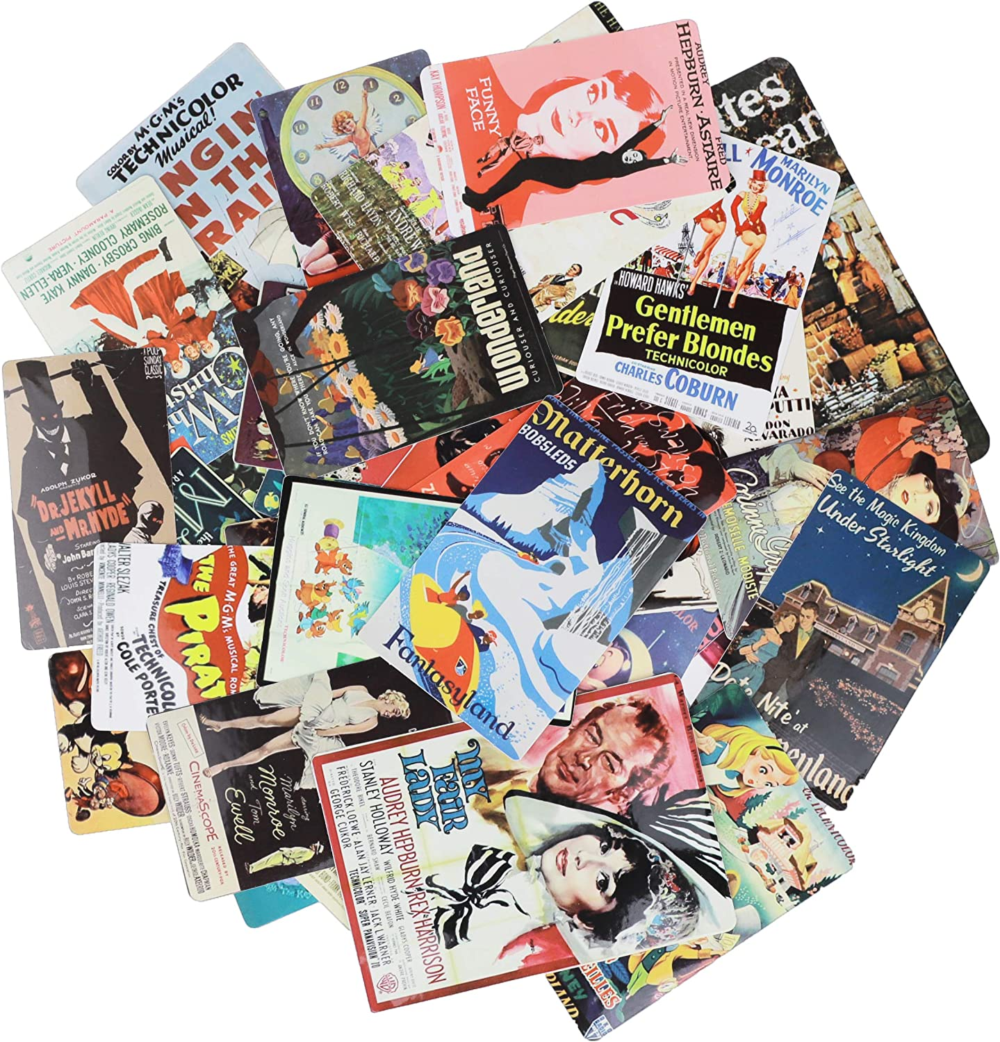 Cool Stickers Waterproof & Sun-Protection 46 Pieces of Europe and America Nostalgic Retro Poster Stickers Hand Account Notebook Skateboard Suitcase Car Motorcycle Stickers