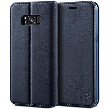 BEZ Funda Samsung Galaxy S8, Carcasa Compatible para Samsung S8, Libro de Cuero con Tapa y Cartera, Cover Protectora con Ranura para Tarjetas y ...