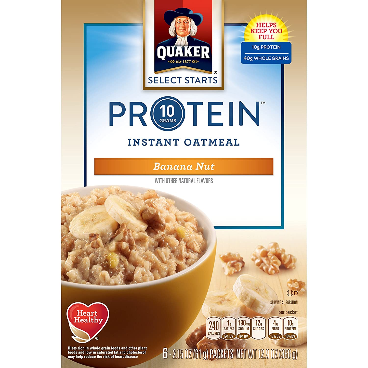 Com Quaker Select Starts Protein Instant Oatmeal Banana Nut Breakfast Cereal 6 Packets Per Box Pack Of