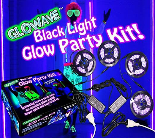 Black light glow party kit for large rooms 115W! 4 UV blacklights LED  strips 12V 5A SMD5050 395nm for neon parties, ultraviolet paint, Halloween,  ...