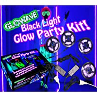 Black light glow party kit for large rooms 115W! 4 UV blacklight LED strips for neon parties, ultraviolet paint…