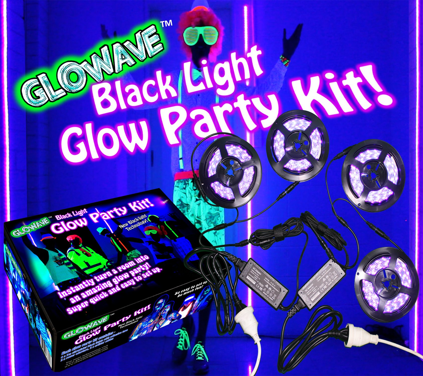 Glowave Complete Glow Party Black Light Kit. Contains 4 x 6.5ft long UV Ultraviolet Black Lights LED (26ft total). With 2 power adapters and splitter cables. For neon glow parties