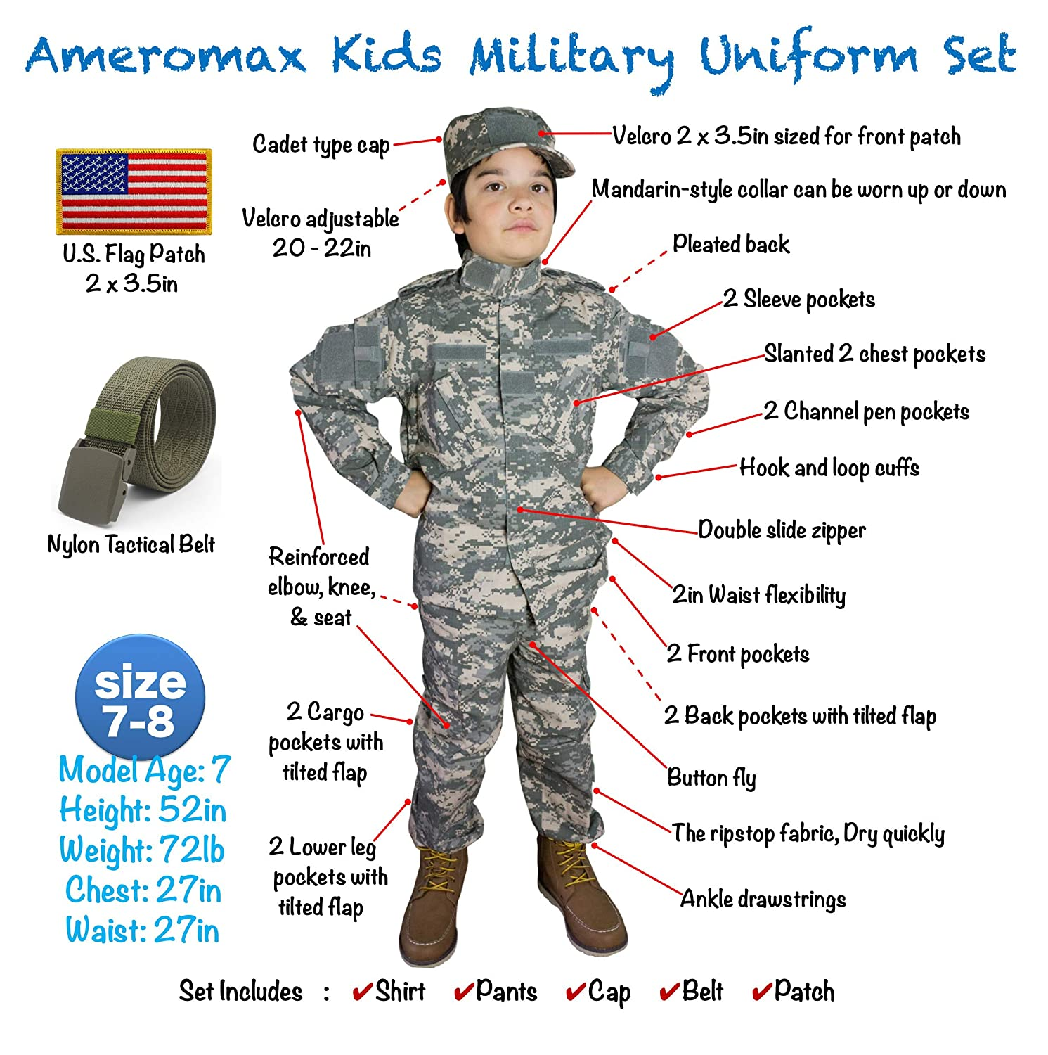 7bcb90127152 Amazon.com  Kids Military Costume Army Uniform Camo Tactical Suit ...