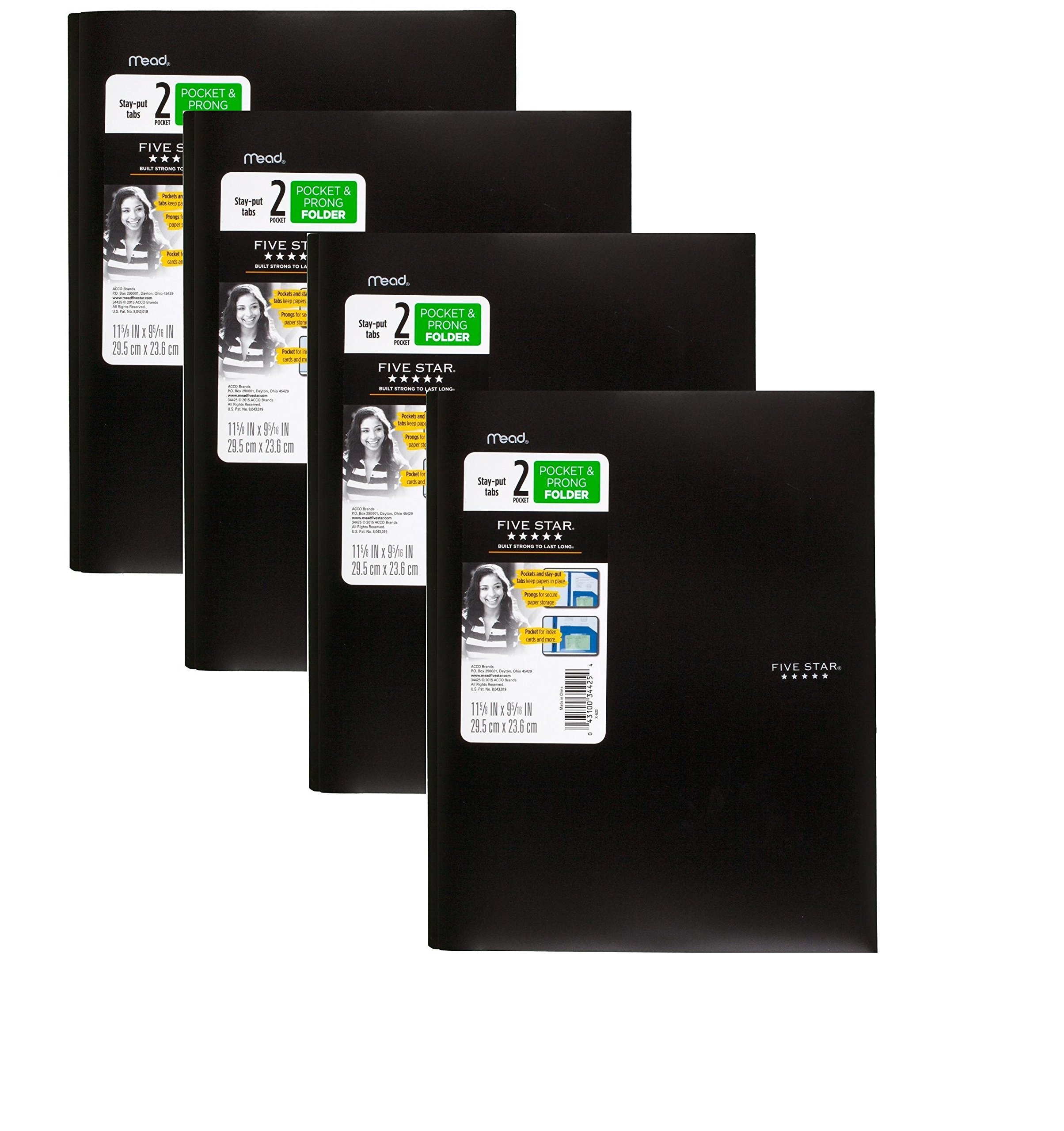 Five Star 2 Pocket Folders with Prong Fasteners, Stay-Put Folder, Folders with Pockets, Assorted Colors, 4 Pack (38064) (Black, 4Pack)