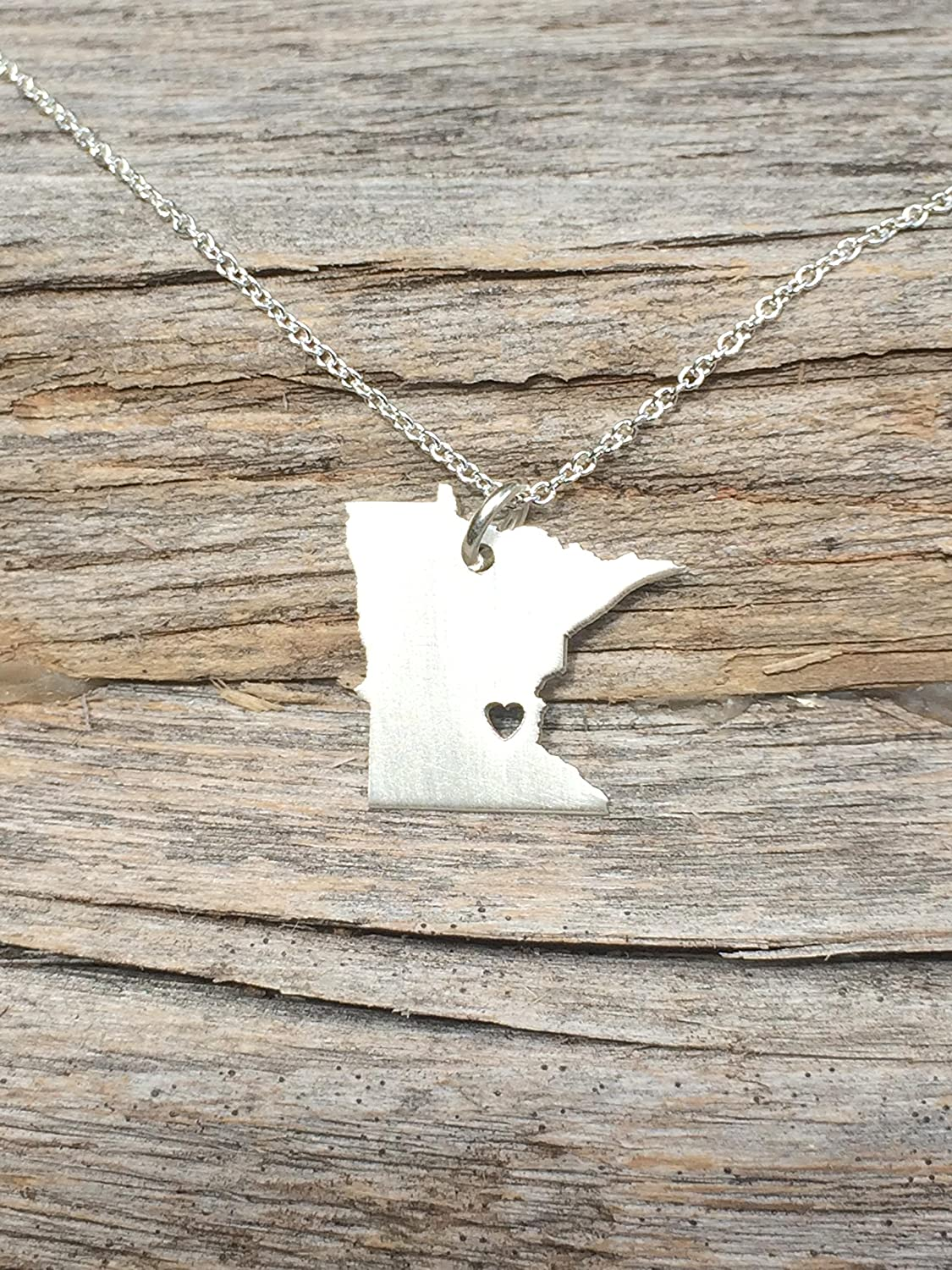 Minnesota Necklace - State Necklace - Personalized Necklace - Christmas Gift - Sterling Silver 14K Gold Filled Charm - Pendant