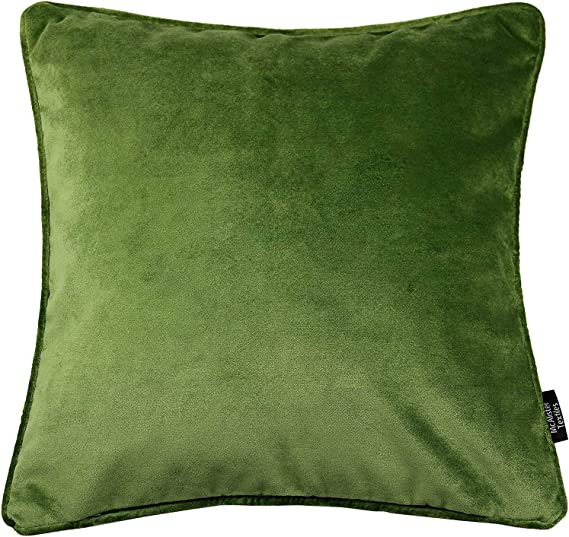 Mcalister Textiles Matt Velvet Pillow Case In Fern Green Square 20 X 20 Inches Lush Plush Luxury Throw Cushion Cover Sham Piping Modern Decor For Sofa Couch Kitchen Dining