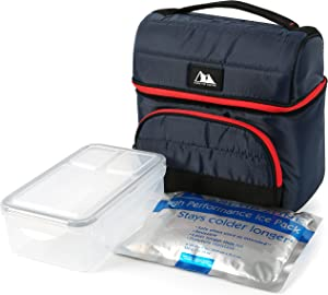 Arctic Zone Ultimate Secret Lunch Bucket with 2pc Leak Proof Food Container (37.2 fl.oz) and 350g High Performance Ice Pack-Navy, 236oz