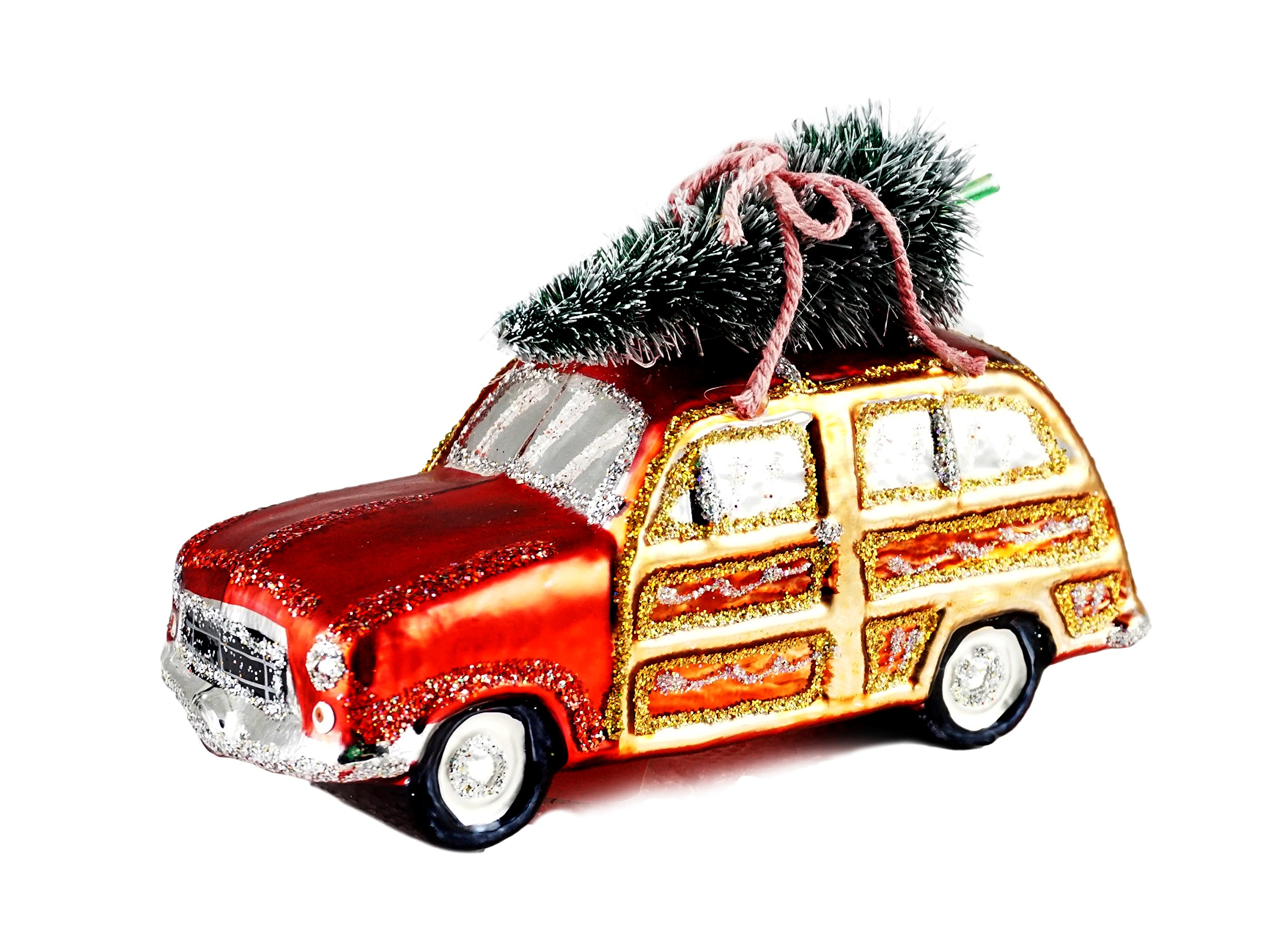Gerson Christmas Vacation Woodie Car Carrying Tree Hanging Christmas Ornament