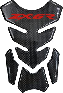 Real Carbon Fiber Red 3D Sticker Vinyl Decal Emblem Protection Gas Tank Pad For KAWASAKI Ninja-Zx6R All
