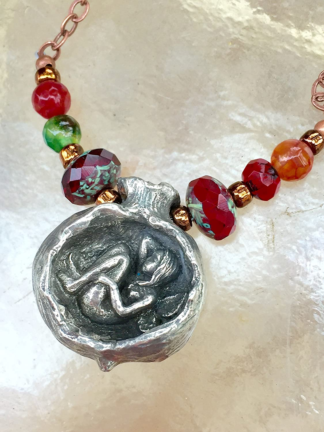 Pomegranate Fairy Necklace, Green Girl Pewter Pendant, Pomegranate Pendant, Fairy Necklace, Fairy Jewelry, Red Fairy Necklace, Rainbow Gems Fairy Necklace, Matching Earrings