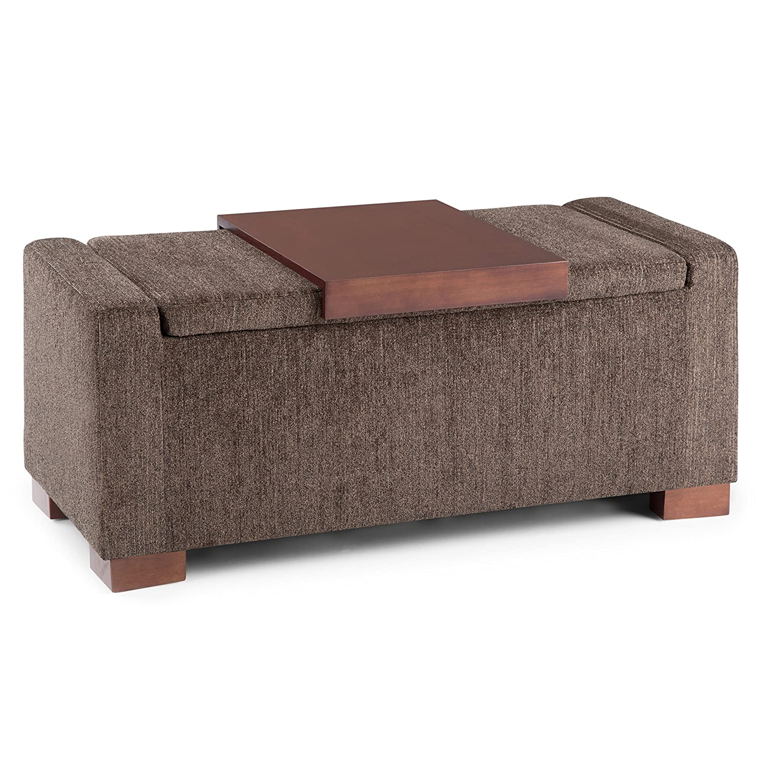 Sensational Simpli Home Axcot 289 Bretton 42 Inch Wide Contemporary Rectangle Lift Top Storage Ottoman In Deep Umber Brown Fabric Caraccident5 Cool Chair Designs And Ideas Caraccident5Info