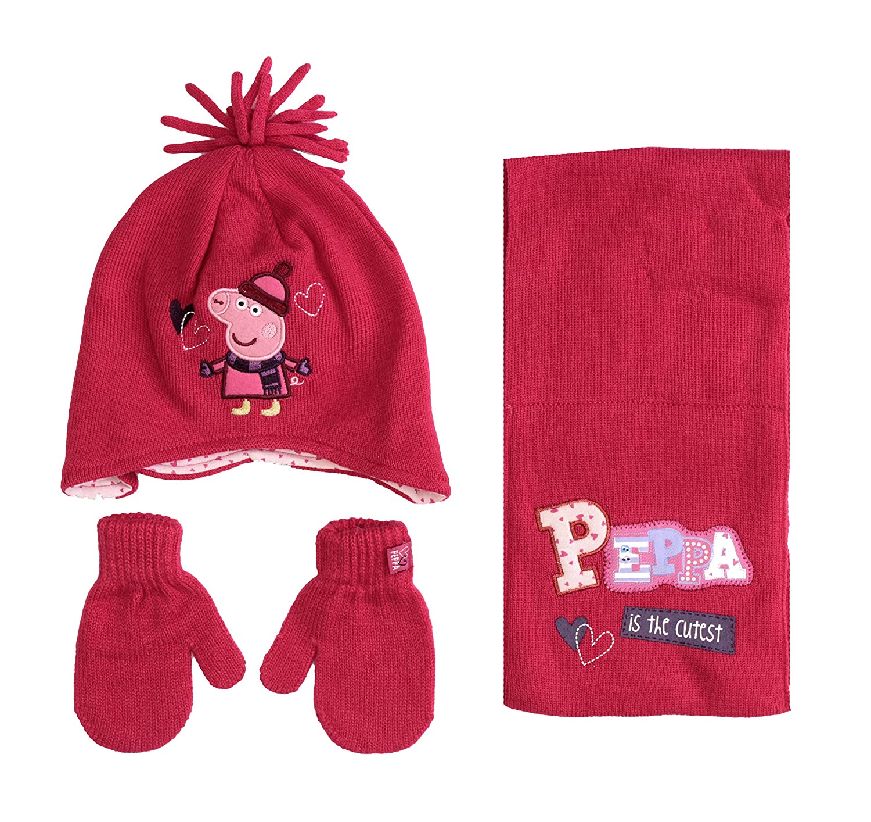 PEPPA PIG GIRLS HAT SCARF /& MITTENS SET.