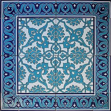 Blau Turkisch Iznik Blumenmuster Keramik Fliesen Wandbild Panel 61 X