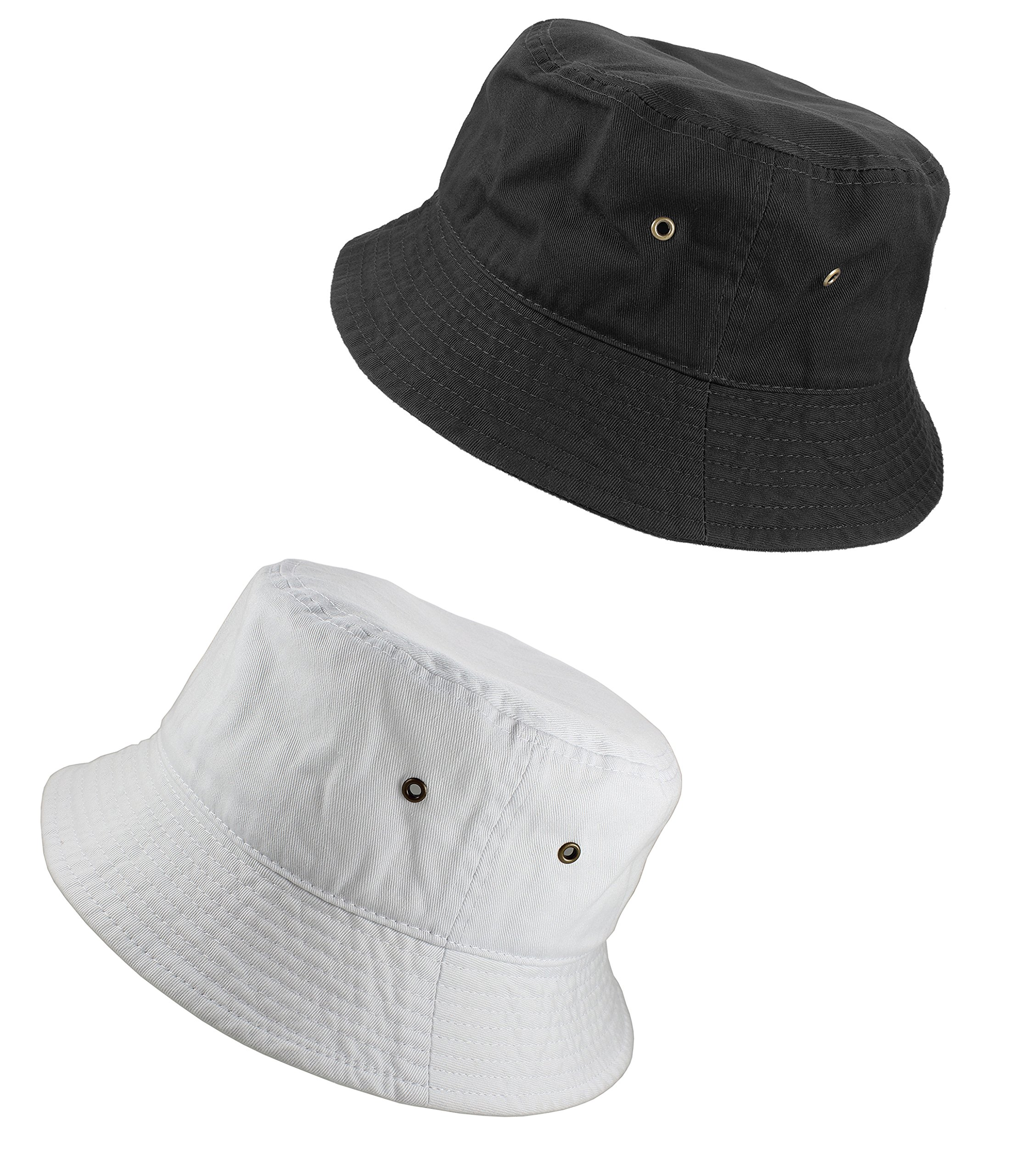 Gelante 100% Cotton Packable Fishing Hunting Sunmmer Travel Bucket Cap Hat 1900-Black/White-S/M