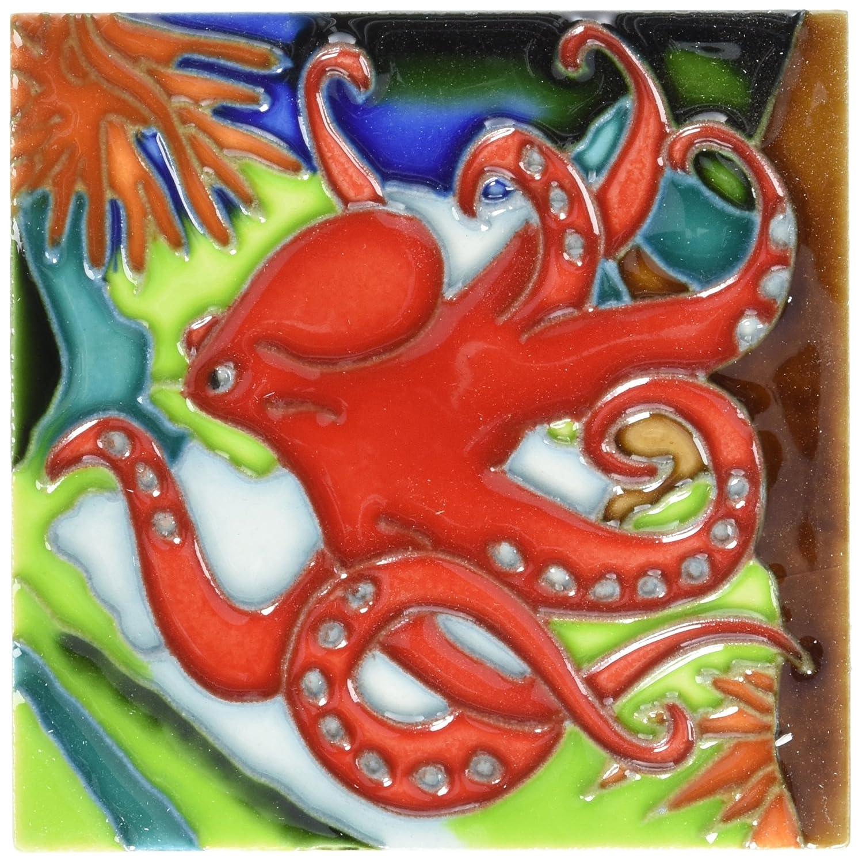 Octopus Decorative Ceramic Wall Art Tile 4x4
