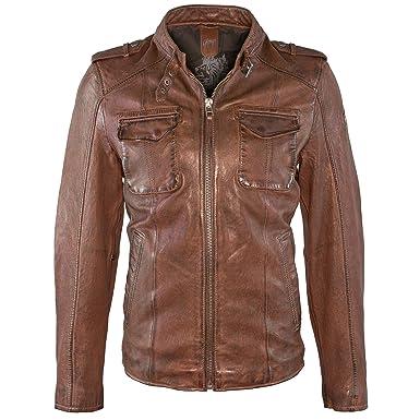 Stylische Herren Gipsy Bikerjacke, echtes weiches Antik Leder, eine Lederjacke in cognac braun