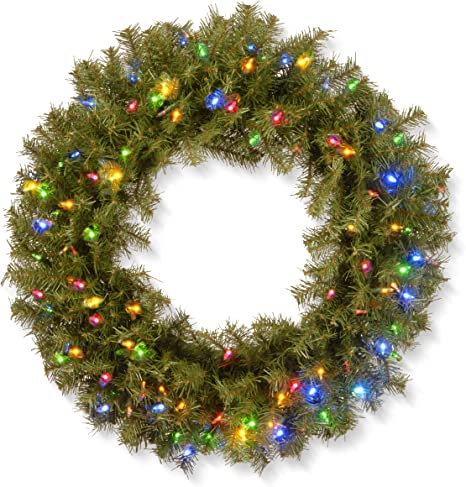 National Tree 30 Inch Norwood Fir Wreath With 100 Battery Operated Multicolor Led Lights Nf3 309 30wb 1 30 In Home Kitchen