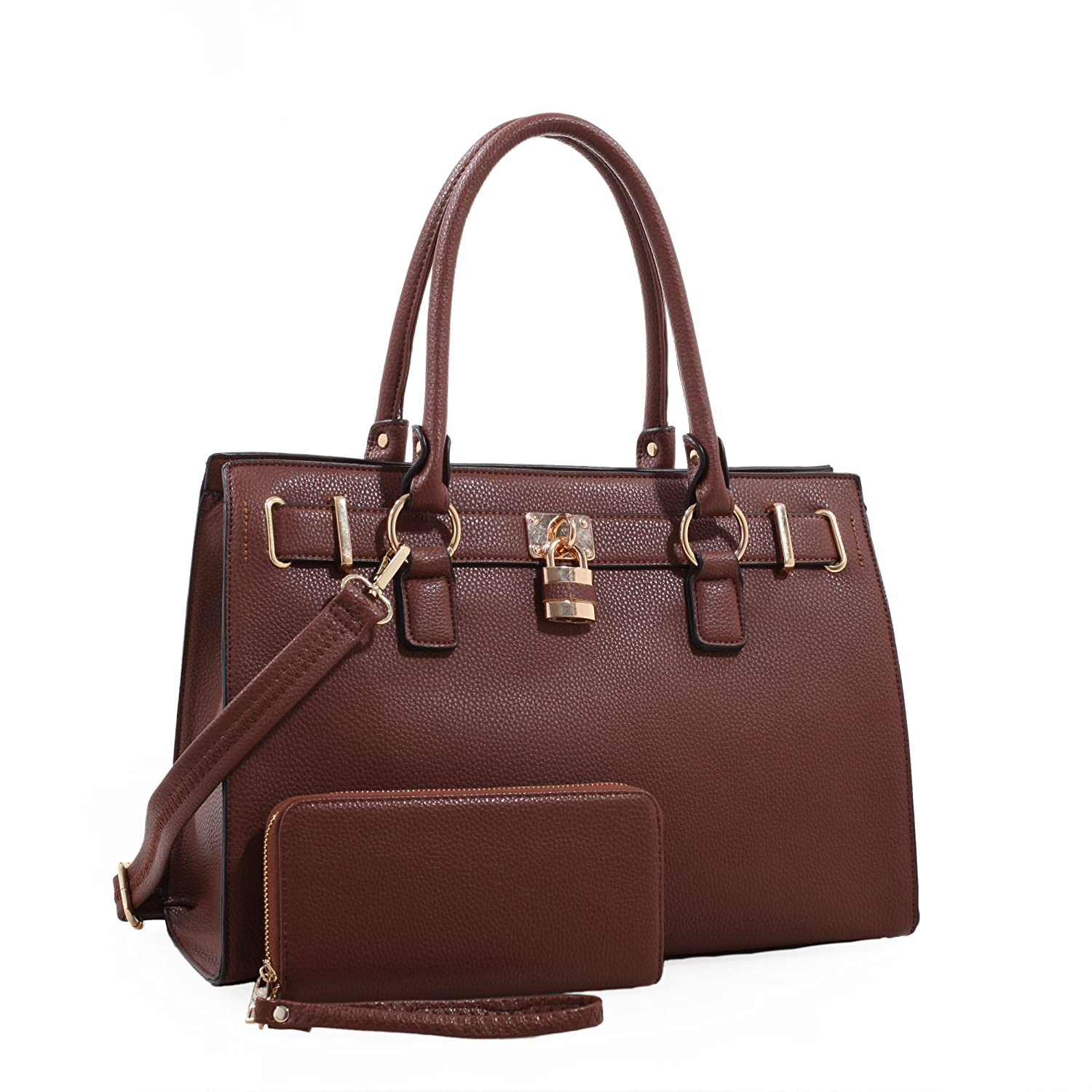 Emperia Dina Womens Concealed Carry Lock and Key Satchel with Matching Wallet Brown
