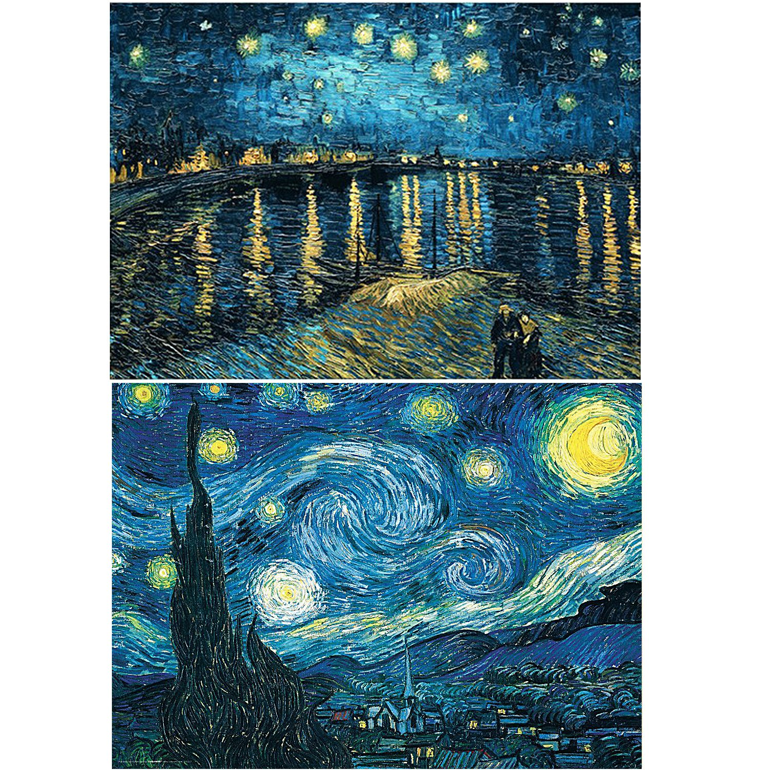 2 Pack 5D DIY Diamond Painting Set Full Drill Diamond Painting Starry Night Wall Stickers for Living Room(40X50CM/16X20inch)