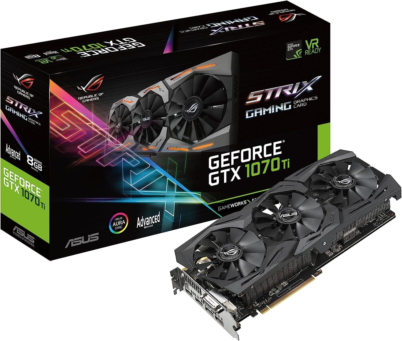 ASUS ROG-STRIX-GTX1070TI-A8G-GAMING GeForce GTX 1070 Ti 8 GB GDDR5 - Tarjeta gráfica (GeForce GTX 1070 Ti, 8 GB, GDDR5, 8008 MHz, 7680 x 4320 Pixeles, PCI Express 3.0)