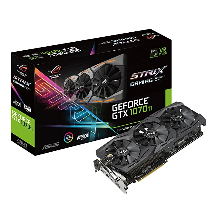 ASUS ROG Strix GeForce GTX 1070 Ti 8GB GDDR5 Advanced Edition VR Ready DP HDMI DVI Gaming Graphics Card (ROG-STRIX-GTX1070TI-A8G-GAMING)