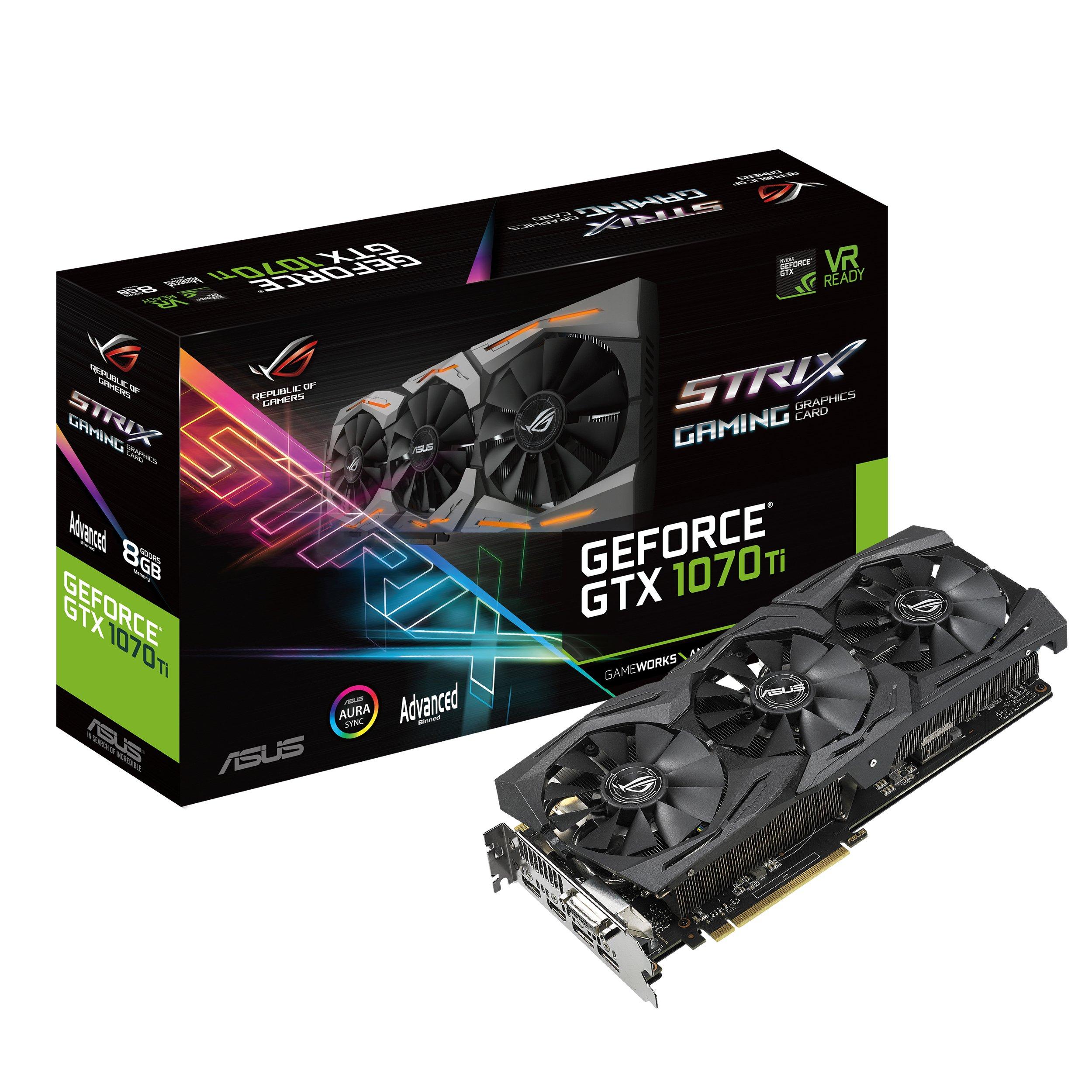 ASUS ROG Strix GeForce GTX 1070 Ti 8GB GDDR5 Advanced Edition VR Ready DP HDMI DVI Gaming Graphics Card (ROG-STRIX-GTX1070TI-A8G-GAMING) by Asus