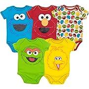 Sesame Street Baby Boy Girl 5 Pack Bodysuits - Elmo, Cookie Monster, Oscar and Big Bird (3-6 Months)