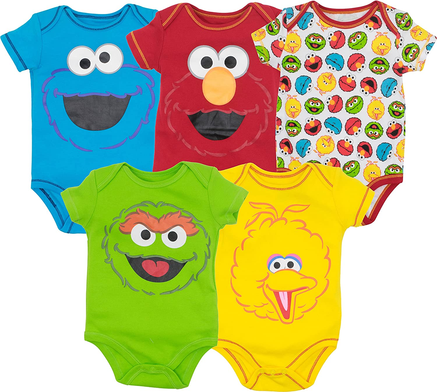 a2b0b7fc Brightly colored Sesame Street creepers featuring red Elmo, blue Cookie  Monster, green Oscar the Grouch, yellow Big Bird and an all-over print with  all four