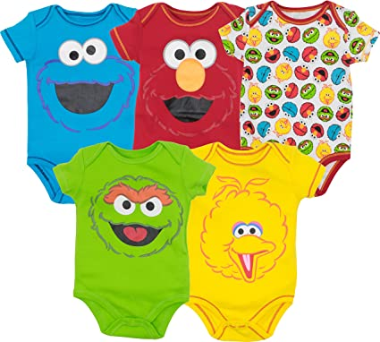 966c812ec Sesame Street Baby Boy Girl 5 Pack Bodysuits - Elmo, Cookie Monster, Oscar  and