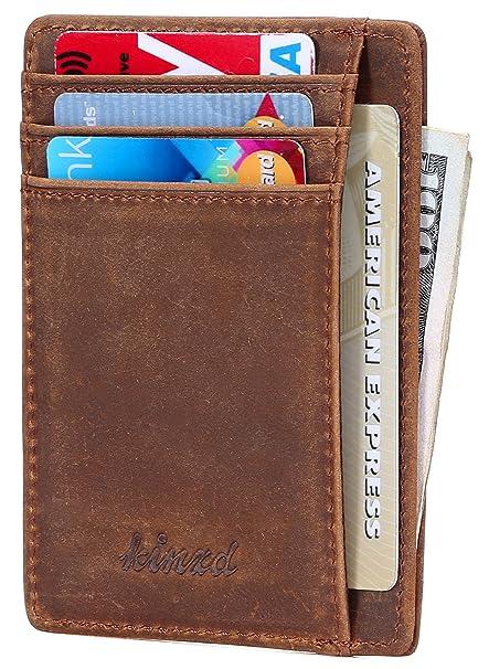 slim wallet rfid front pocket wallet minimalist secure thin credit card holder crazy horse leather - Card Holder