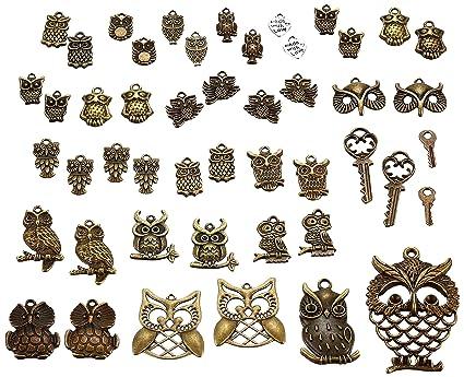 Owl Charm//Pendant Tibetan Antique Gold 5-40mm  30 Grams Accessory DIY Jewellery